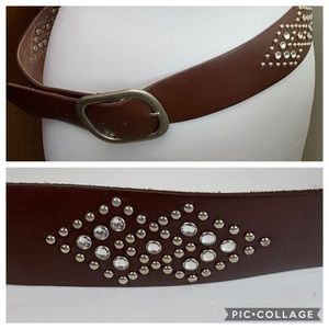 Crystal/silver-studs leather western-chic belt M/L